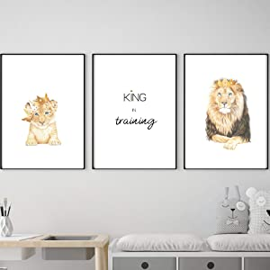 Lion King 2019 Cub with Crown Prints, Hand Drawn Color Pencil Art Wall Prints - Boys, Girls, Babies or Teen Bedroom   Nursery (King In Training - Lion)