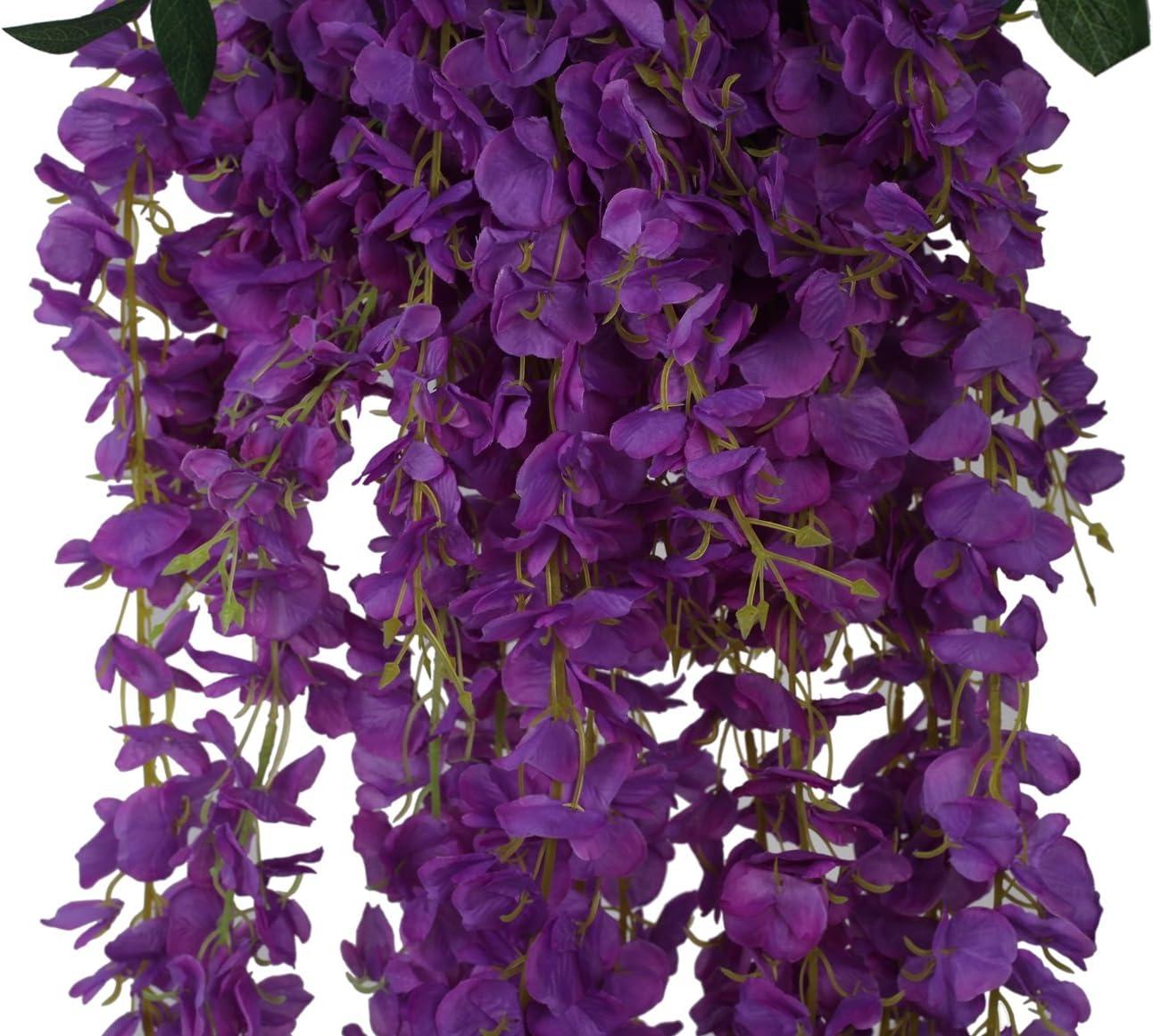 Purple 6 Pezzi Fiori Artificiali Glicine Seta Per Decorazione Floreale Giardino Soggiorno Appendere