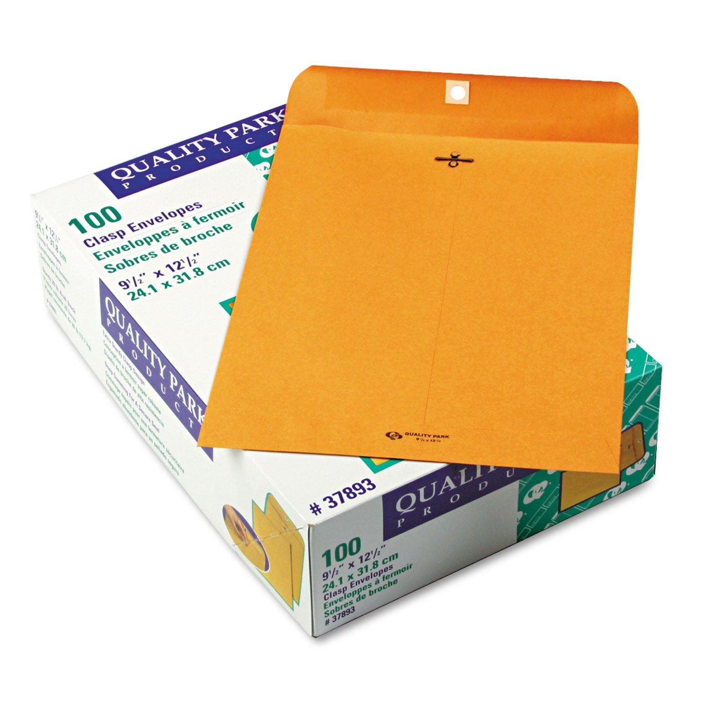 Quality Park 37893 Gummed Clasp Envelope, 28Lb, 9-1/2''x12-1/2'', 100/BX, Kraft