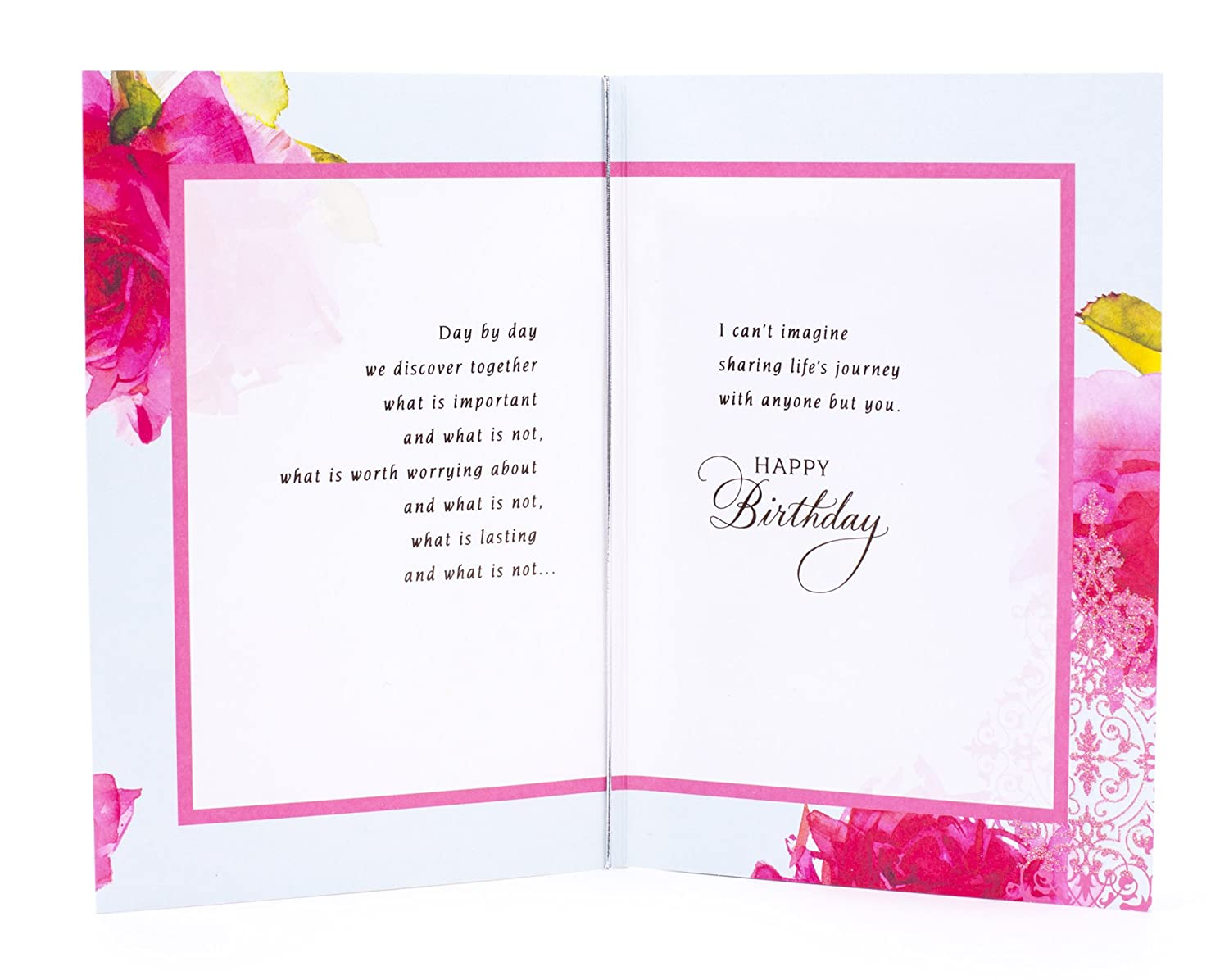 Amazon Hallmark Birthday Card For Wife Roses With Pattern