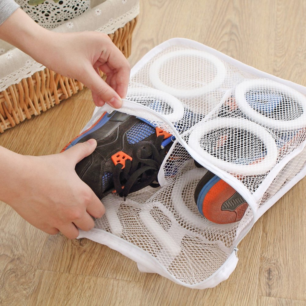Whitelotous Portable Mesh Laundry Shoes Bags Dry Shoe Organizer Washing Bags