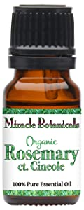 Miracle Botanicals Organic Rosemary Cineole Essential Oil - 100% Pure Rosmarinus Officinalis ct. Cineole - Therapeutic Grade 10ml