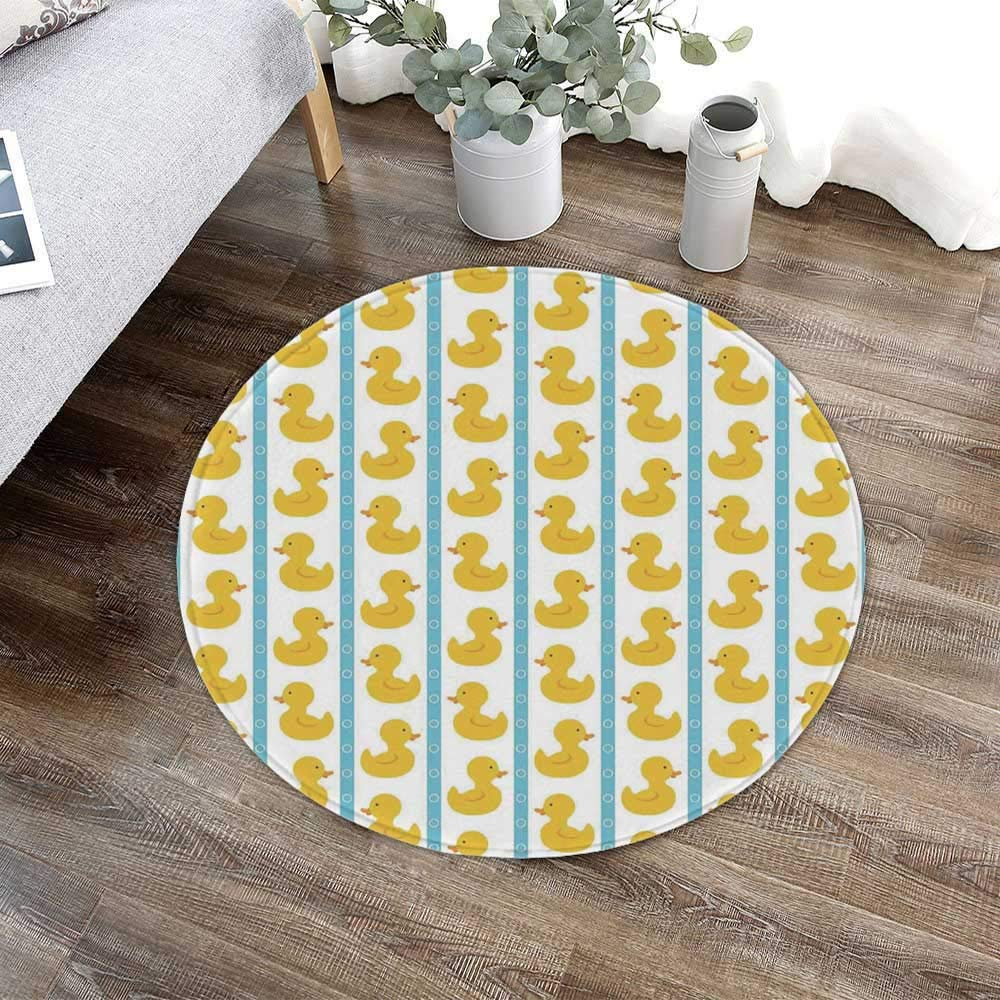 TecBillion Rubber Duck Water Absorption Non Slip Mat,Yellow Duckies with Blue Stripes and Small Circles Baby Nursery Play Toys Pattern for Corridor Study Room Bathroom,23.62'' W x 23.62'' H