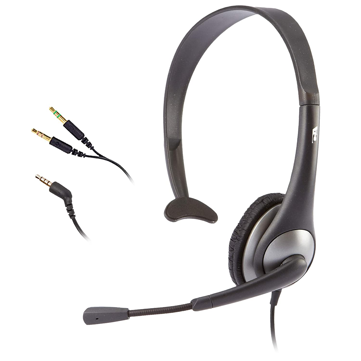 Cyber Acoustics Mono Headset, headphone with microphone, great for K12 School Classroom and Education (AC-104),Gray