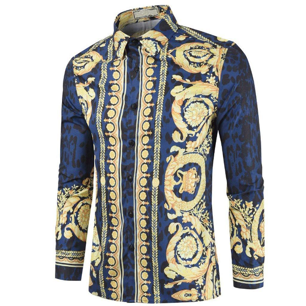 DONTAL Mens African Print Long Sleeve Tops Leisure Casual Dashiki T Shirts