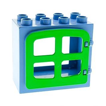 1 x Lego Duplo Fenster Tür Rahmen rot 2x4x3 4 Scheiben hell grün 4809 2332b