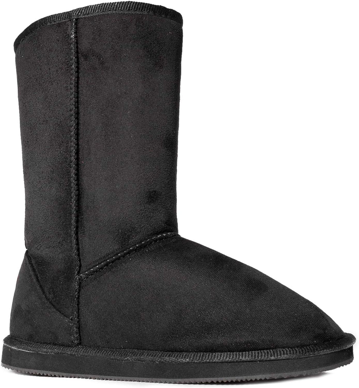 RF ROOM OF FASHION Women's Vegan Shearling Fur Lined Hidden Pocket Mid-Calf Snow Winter Boots Premium Black SU SIZE7.5