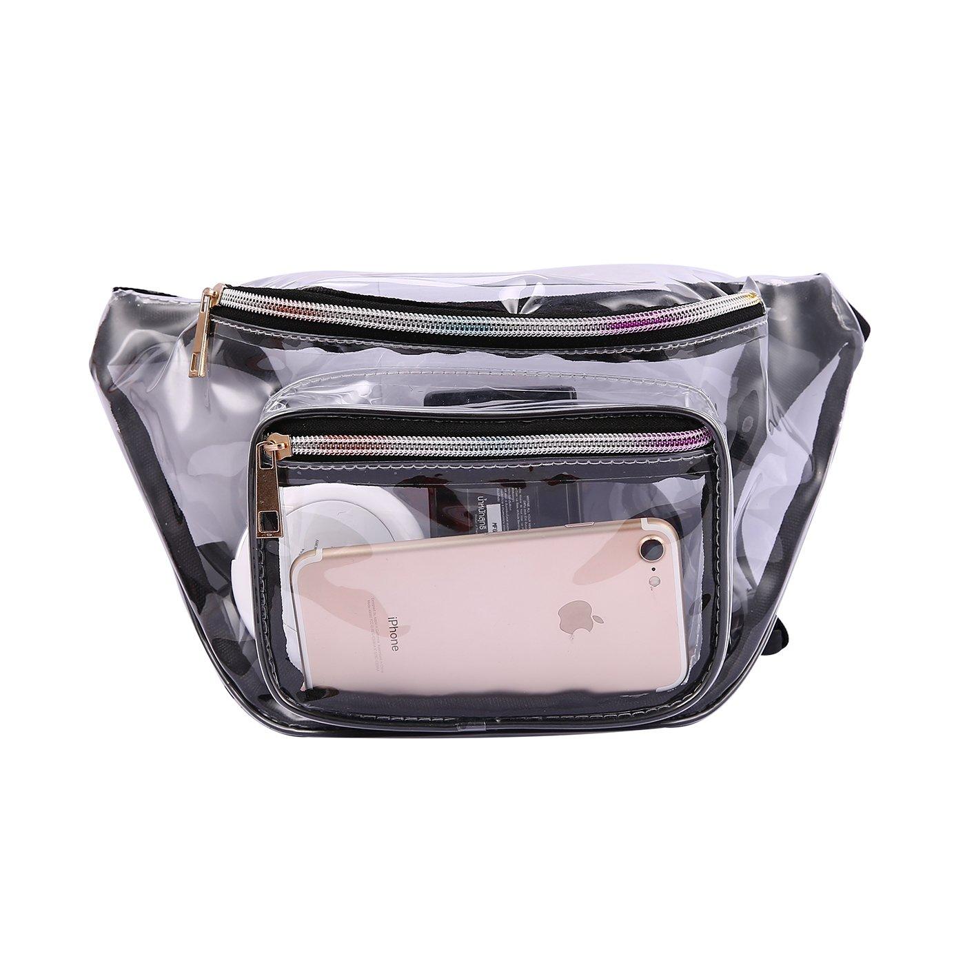 HDE Shiny Retro Fanny Pack Rave Festival Hologram Waist Pack Bum Bag Outdoor Travel Crossbody Hip Bag (Clear)
