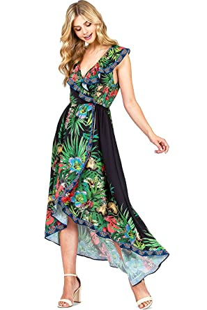Flying Tomato Women s Sleeveless Chiffon Floral Print Dress (S ... 6bb9b07a1