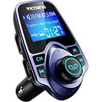 VicTsing FM Transmitter, Bluetooth FM Transmitter Radio Adapter Car Kit with 5V 2.1A USB Car Charger MP3 Player Support TF Card USB Flash Drive, Aux Output and Input - Blue