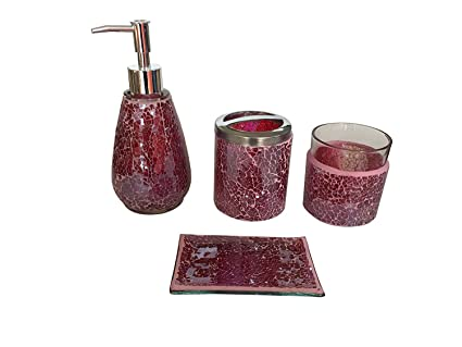 purple glass bathroom accessories. SkyMoving Luxury Bathroom Accessories Set  4 Piece Mosaic Glass Gift Set Amazon Com