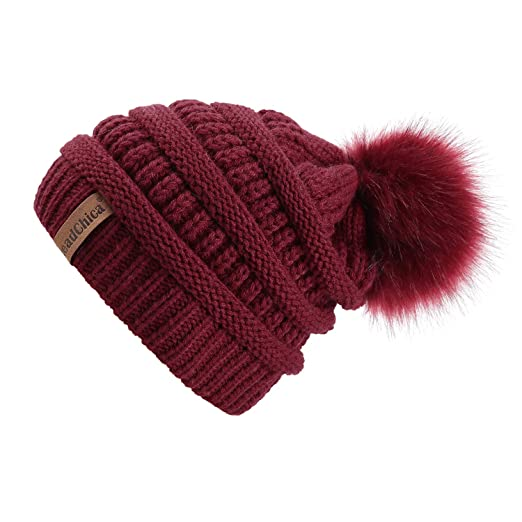 Winter Knit Beanie Slouchy Hat Soft Thick Warm Beanie for Women with Faux  Fur Pompom Skull fb300d8d11c