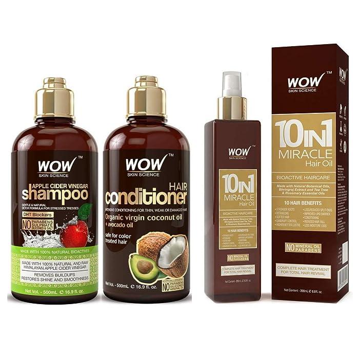 WOW Apple Cider VInegar Shampoo & Hair Conditioner Set (2x 500ml) and Hair Oil (200ml) Bundle Kit - Increase Shine and Hair Growth