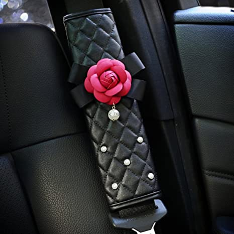 Auto Car Safety Seat Belt Strap PU Leather Shoulder Soft Cushions Pads Cover S