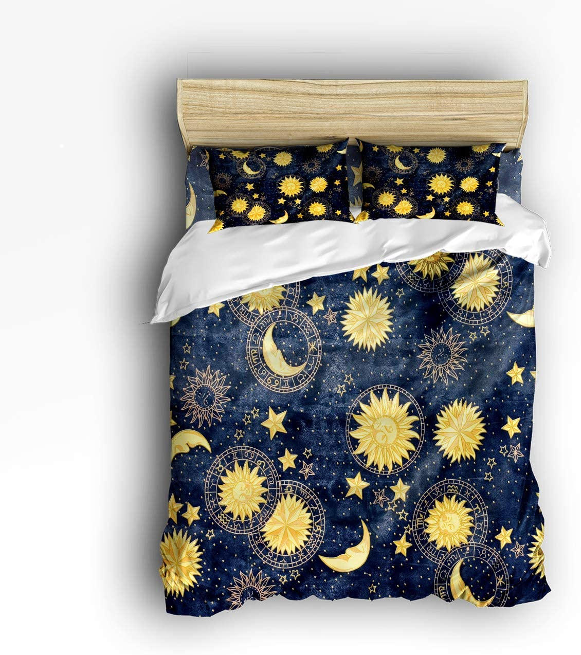 Cloud Dream Home 4 Piece Bedding Set, Boho Chic Art Golden Sun Moon and Stars Over Blue Black Sky Duvet Cover Set Quilt Bedspread for Childrens/Kids/Teens/Adults Queen Size(Large)