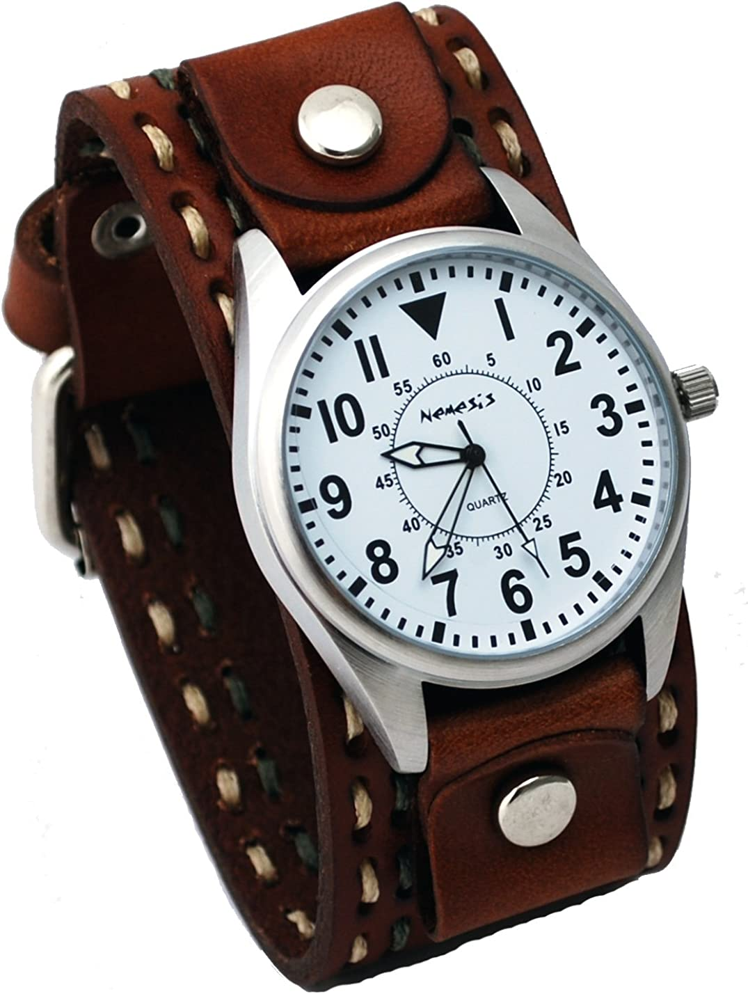 Nemesis LBDT095W Men s Wide Brown Leather Cuff Band with Stitching Easy Reader Watch