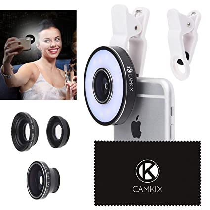 Camera Lens Kit with LED Ring Light for Phone/Tablet - Universal - Fisheye,  Wide Angle and Macro Lens - Amazing Upgrade for Apple iPhone 8/7/SE/6/6S,