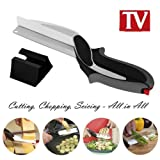 Clever Cutter 2 en 1 Ciseaux et couteau Planche à découper multifonctions Zmsj Versatile Design ergonomique Cuisine Hachoir Vegetable Slicer