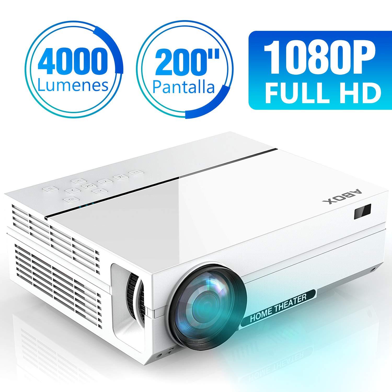 ABOX A6 4000 Lúmenes Proyector, LED Proyector de Cine en casa, 1920*1080P Full HD, Contraste 4000: 1, con Audio Hi-Fi, Soporte Fire TV ...