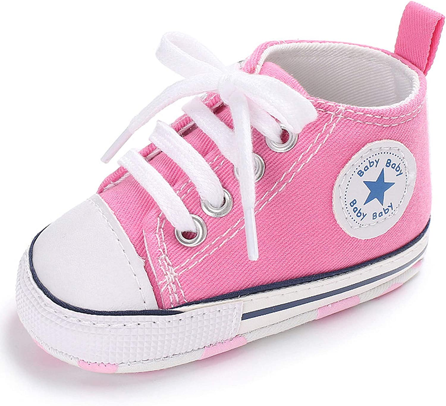 | Antheron Baby Girls Boys Canvas Shoes Soft Sole Toddler First Walker Infant High-Top Ankle Sneakers Newborn Crib Shoes | Sneakers