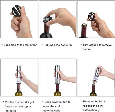 Winey sacacorchos eléctrico para vino, abridor de vino portátil y recargable, extractor de corcho para vino inteligente con cortador de papel de aluminio y cable de carga Micro USB