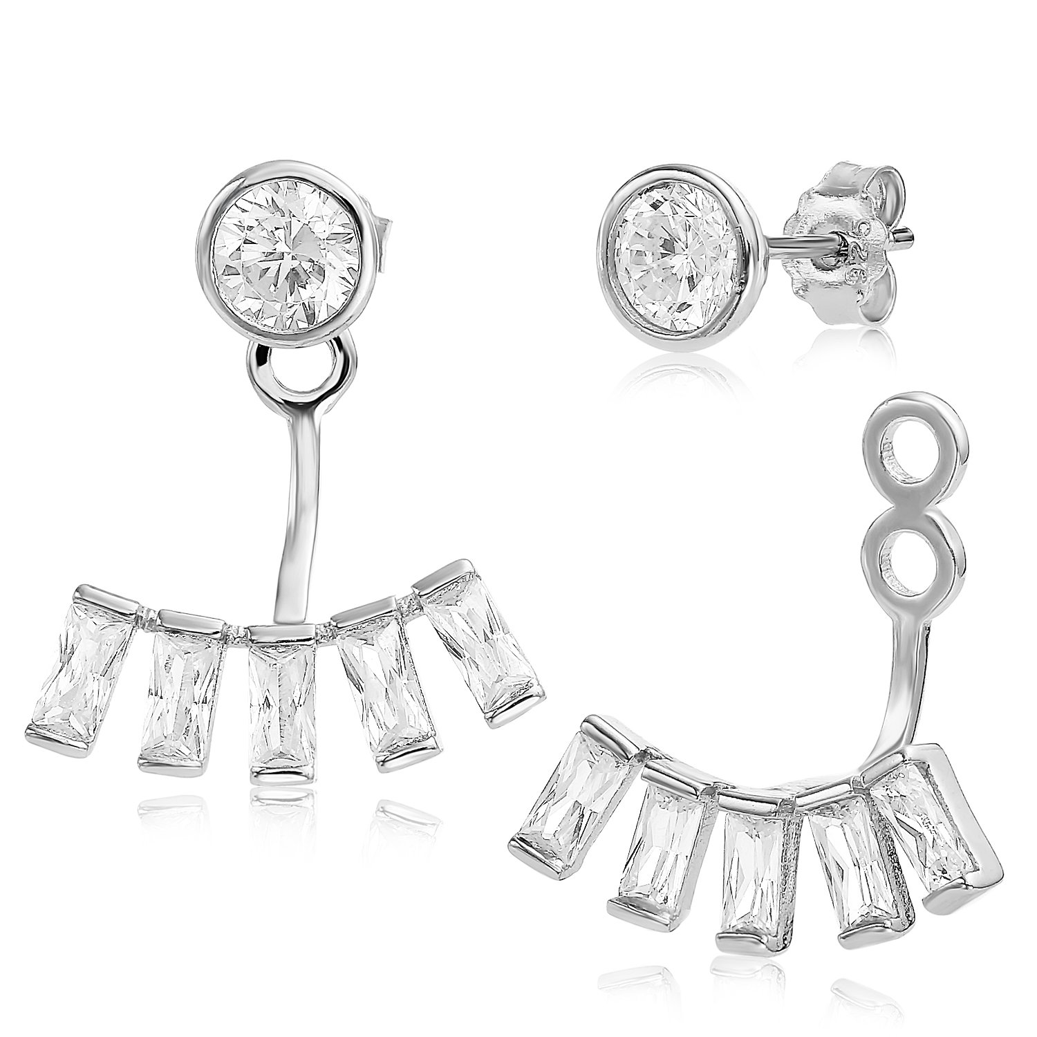 Ear Jacket 2 in 1 White Rhodium Plated-Sterling Silver, CZ AAA Quality Stud & Jacket Earrings Set