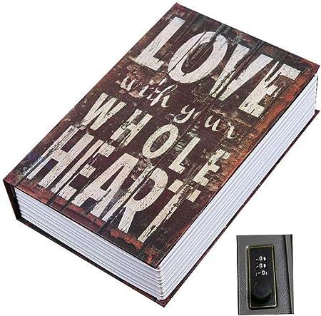 ANXWA Libro Seguro Libro Seguro Caja Fuerte para Libros Caja con Cerradura De Combinación Caja Segura para Recolección De Libros Caja Segura Portátil Caja De Combinación De 3 Dígitos Páginas Reales,K: Amazon.es: