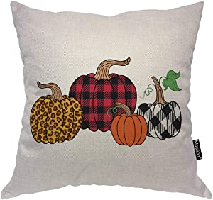 Moslion Buffalo Check Pumpkin Throw Pillow Covers Fall Harvest Leopard Pattern Farm Plaid Checkered Throw Pillow Cases for Home Car Decor Halloween Thanksgiving Cushion Cover Cotton Linen 18x18 inch