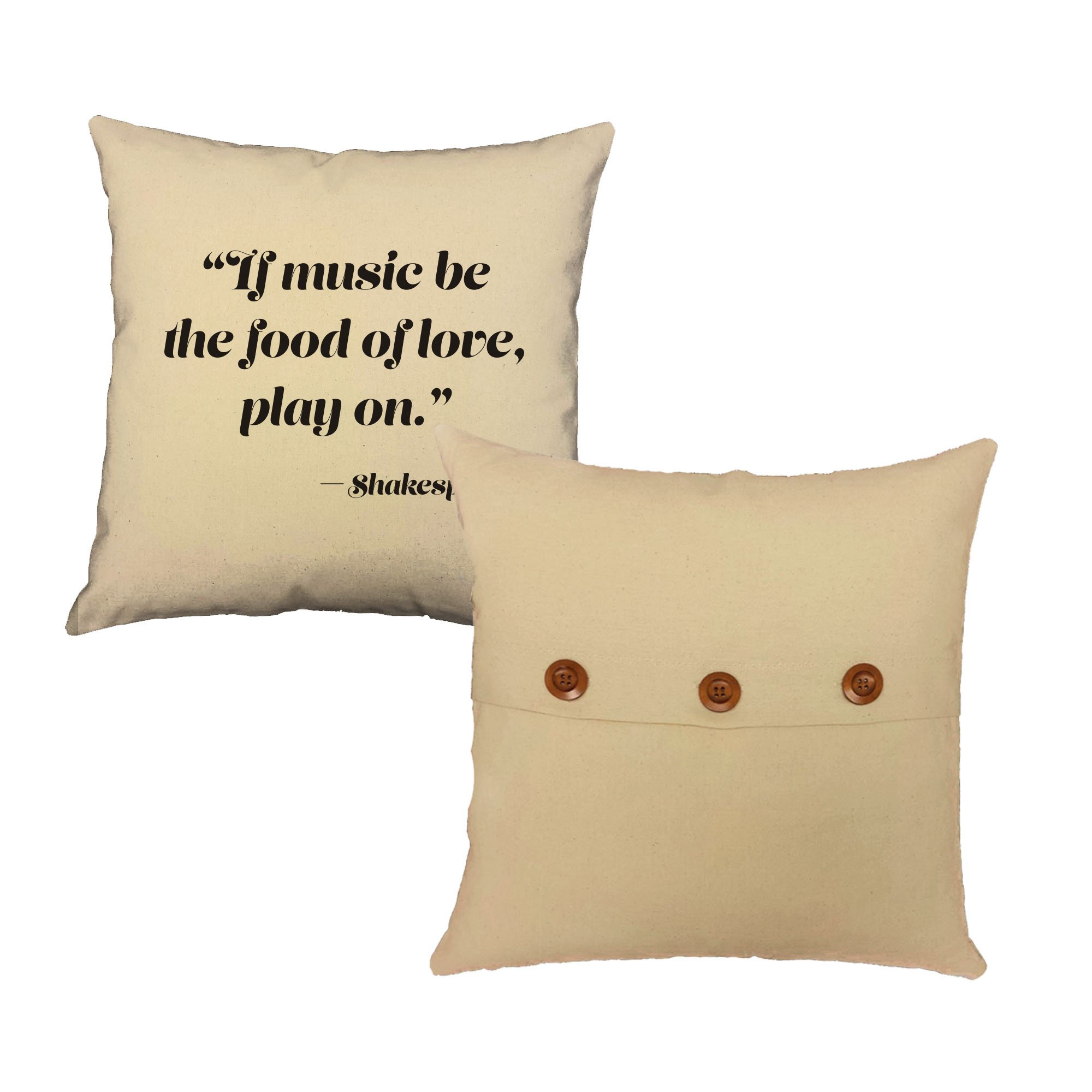 Set of 2 RoomCraft Music is the Food of Love Throw Pillows 20x20 Square Red Cotton Shakespeare Quote Cushions by RoomCraft (Image #5)