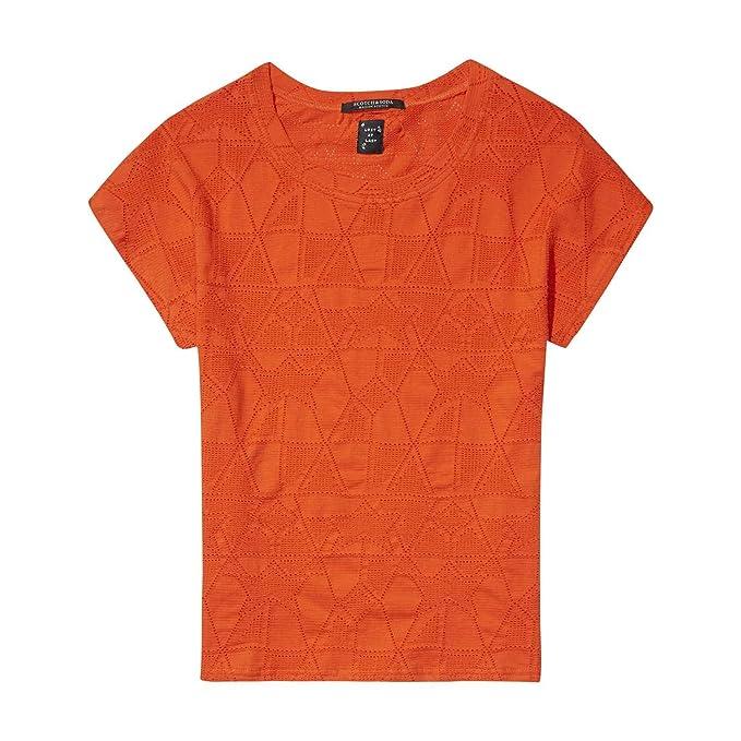 Camiseta De Mujer Manga Corta Maison Scotch XL Tropical Orange