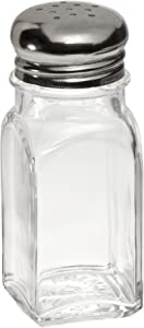 Adcraft MSQ-2 Square Mushroom Glass Salt and Pepper Shaker, 2 oz. Capacity, 4-Inch Height (Case of 24)