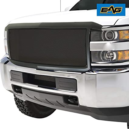 with Amber LED Lights Fit for 15-18 GMC Sierra 2500//3500 Matte Black EAG Replacement Upper Grille ABS Front Hood Grill