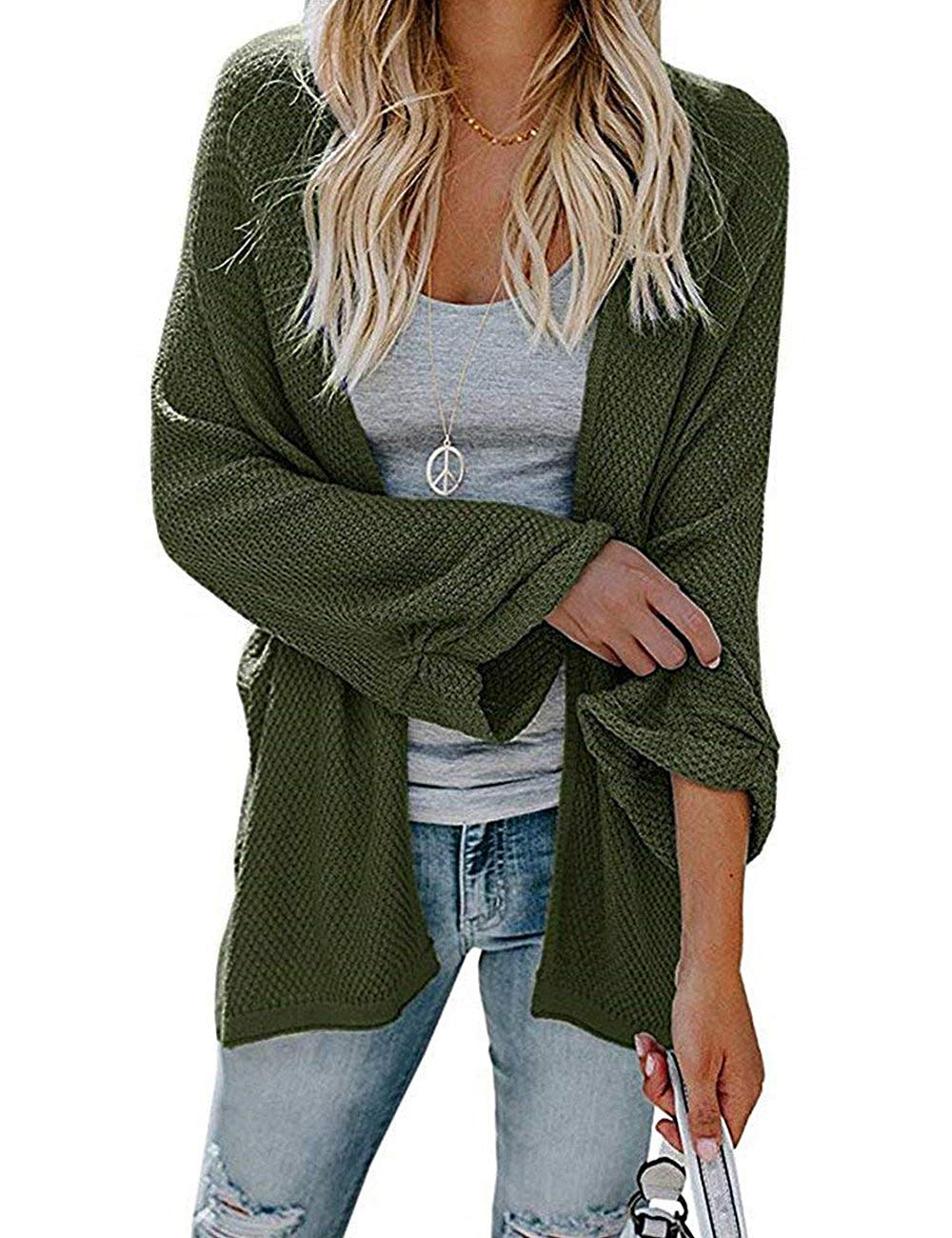 PARIS HILL Softome Womens Long Sleeve Cardigans Oversized Open Front Basic Casual Knit Sweaters Coat Army Green XX Large by PARIS HILL (Image #3)