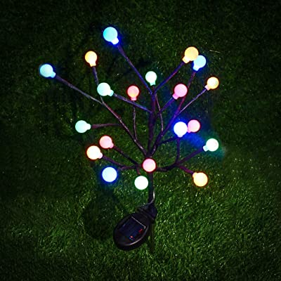 Iusun Garden Solar Tree Lights Ball LED Light Outdoor Waterproof Landscape Lawn Light Fence Lamp Pathways Yard Patio Decorations Christmas Wedding Party Holiday New Year Ornament (Multicolor): Musical Instruments