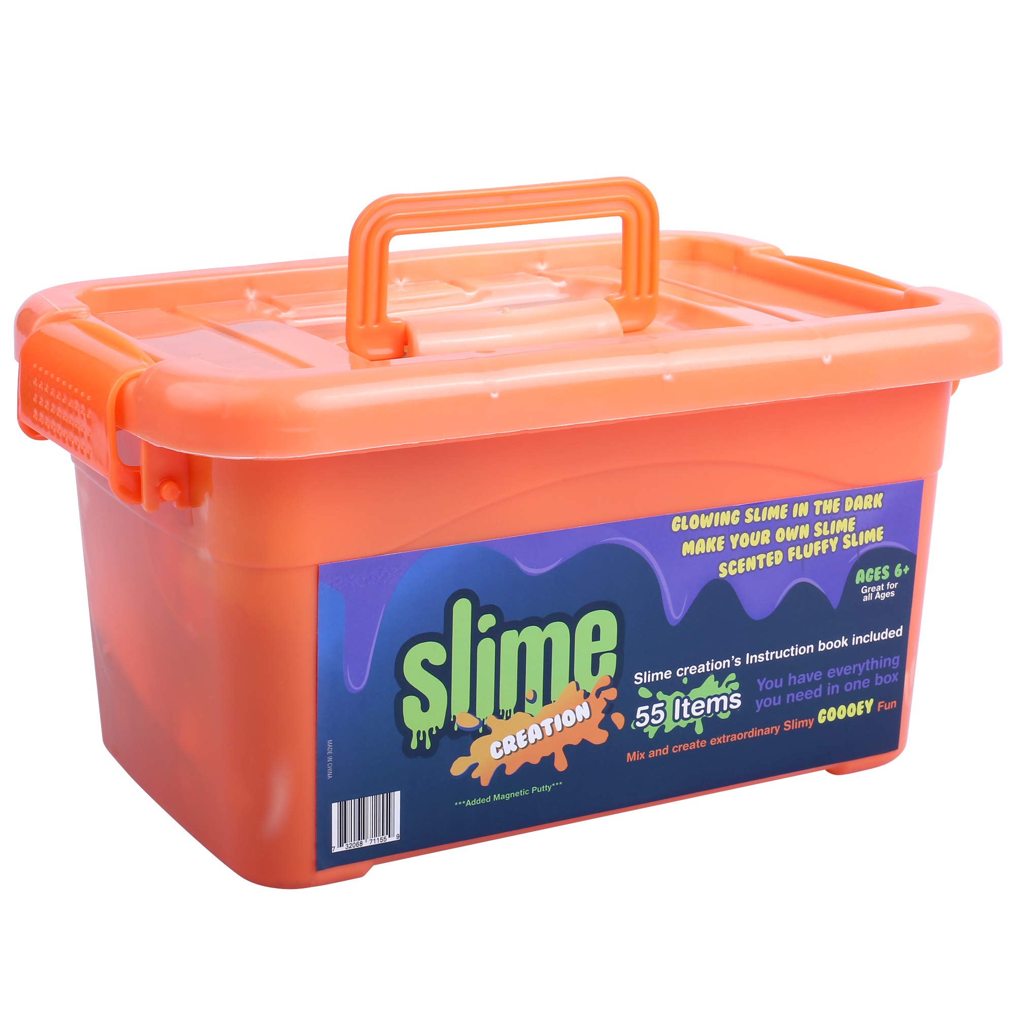 Slime Kit Supplies for Girls & Boys: 55 Piece DIY Kits for Kids with Activator Ingredients, Glue, Foam Beads, Glitter - Set with Everything for Making Fluffy, Clear, Rainbow, Magnetic & Scented Slimes by Slime Creation (Image #1)