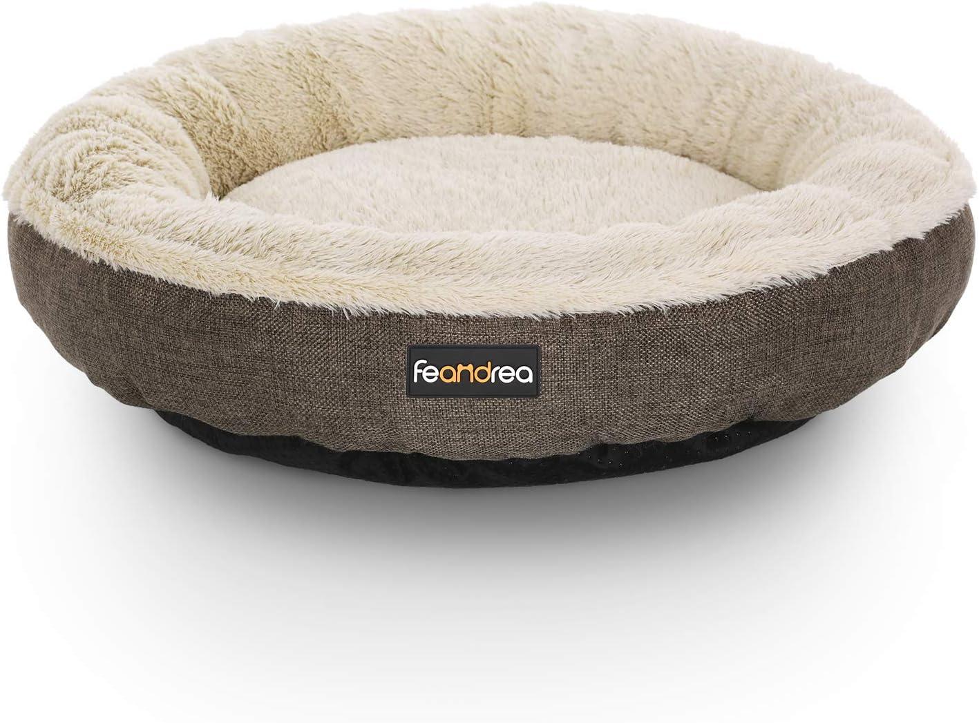 FEANDREA Sofá para Perro, Cama para Mascota, Redonda, 55 cm, Marrón PGW55C