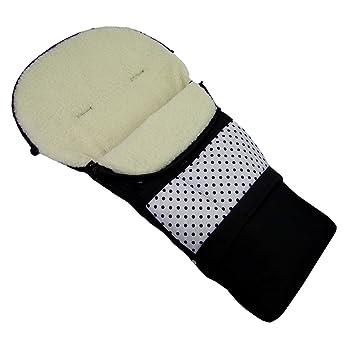 Rawstyle Winterfußsack 3 In 1 Aus Lammwolle Weiß Punkte Schwarz 110cm Oder 85cm Für Kinderwagenschale Kinderwagen Schlitten Und Buggys Fußsack Wolle Baby
