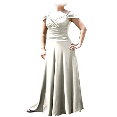 60f2bc03bbf EVANESE Women s Plus Size Elegant Long Formal Evening Dress with Shoulder  Bands 1X. Creme