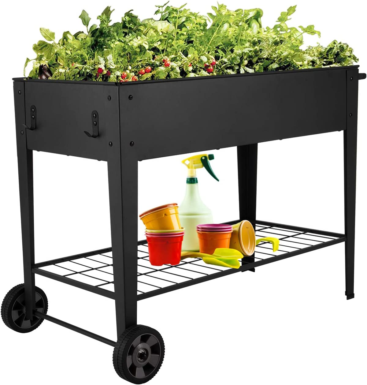 Kinsuite 12 Grids Pocket Herb Garden Bed Raised Planter Flower Box Elevated Metal with 2 Wheels&Storage Shelf for Vegetable Tomato Herbs Gardening, Removable Shelves