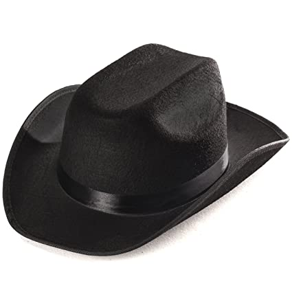 c8698445a9695a Amazon.com: Funny Party Hats Black Cowboy Hat - Cowboy Hats - Western Hat -  Unisex Adult Cowboy Hat - Cowboy Costume Accessories: Toys & Games