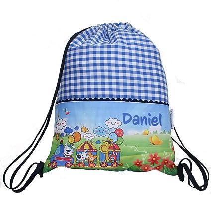 Bolsa mochila tren, en tela vichy cuadros azules, personalizada con nombre. /29x37