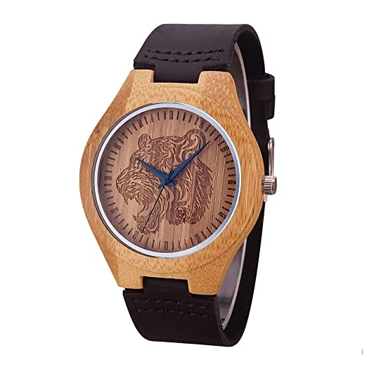Amazon.com: Cool Tiger Engraving Dial Wood Watches Male Genuine Leather Clock Mens Wooden Watch Gift B no box: Beauty