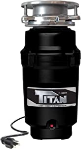 Titan 10-US-TN-560-3B Garbage Disposal, 1/2 HP - Economy, Black with Stainless Steel Flange