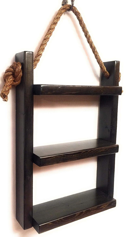 Rope Hanging Shelf, Wooden Ladder Shelf, Storage Shelf, Bathroom Storage, Rustic Shelf, Over The Toilet Storage, Bathroom Towel Rack, White