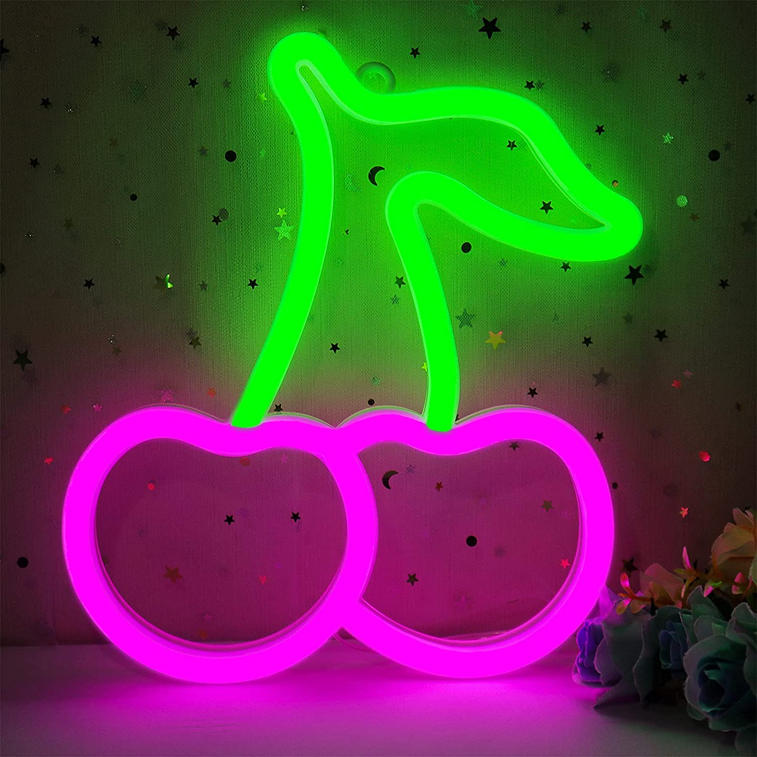 Cherry Neon Sign for Wall Decor, Cisteen Led Neon Light Wall Sign Hanging Art Light Children Light for Kids' Bedroom, Baby Nursery Room, Party, Christmas (USB Charging/Battery Powered) (Green&Pink)
