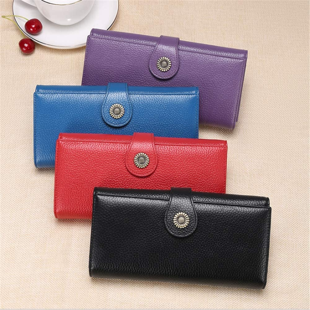 RFID Blocking Leather Wallet for Women//Womens long zipper wallet//large capacity clutch bag Ms.