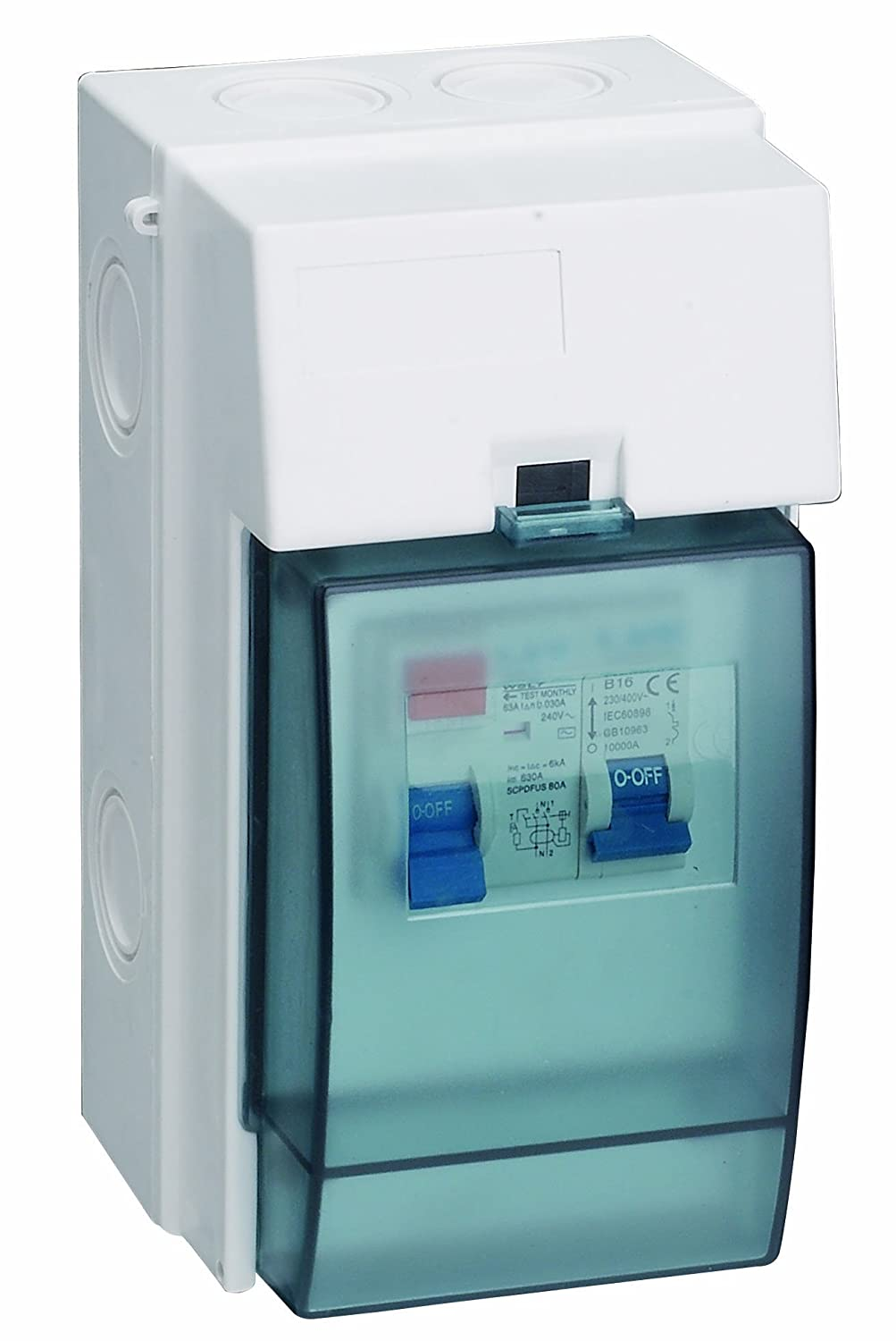 Shower Consumer Unit Weatherproof 3 Module Ip65 63amps Rcd Protected Electric Wiring Es0365 A Diy Tools