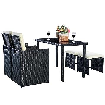Amazon.de: 5tlg Polyrattan Set Sofa Gartenmöbel Rattanmöbel ...