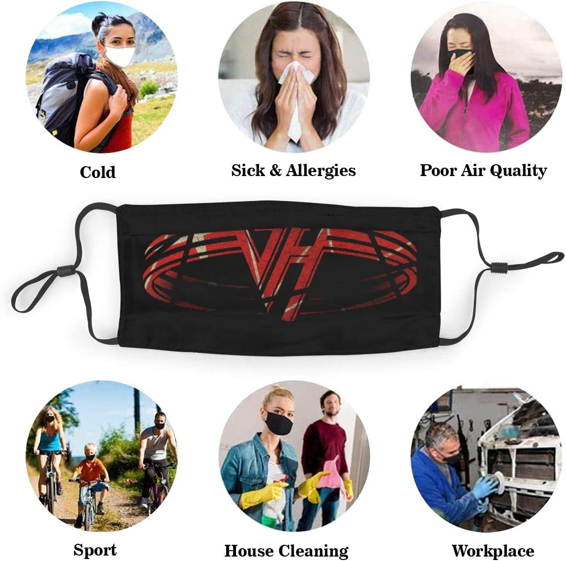 Best Of Van Halen Mouth cloth Mens Womens Adjustable With Carbon Filter Anti Dust Splash Proof