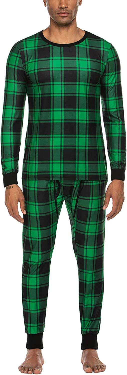 Ekouaer Men's Buffalo Plaid Pajama Set Thermal Underwear Set Lightweight Long Johns with Fly Hole and Pockets